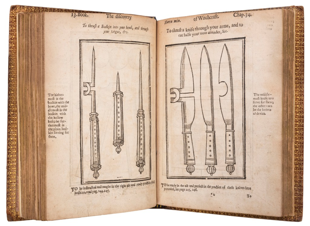 Gimmicked knives that appear to cut deep into an arm or a hand were detailed in Scot's seminal book.