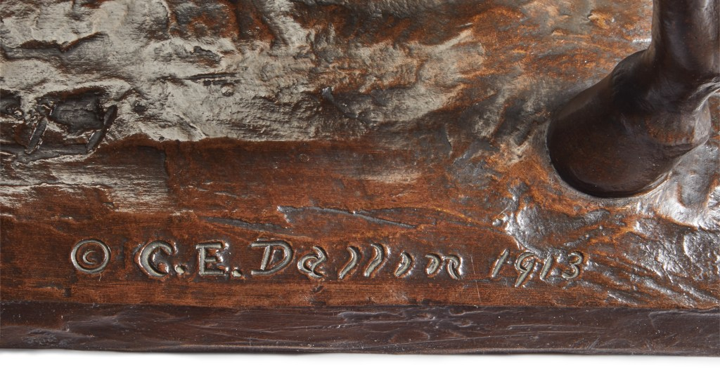 Cyrus Edwin Dallin's signature on the 22-inch bronze of Appeal to the Great Spirit. The 1913 date refers only to the year in which the reduced-size version was sculpted, not its casting date.