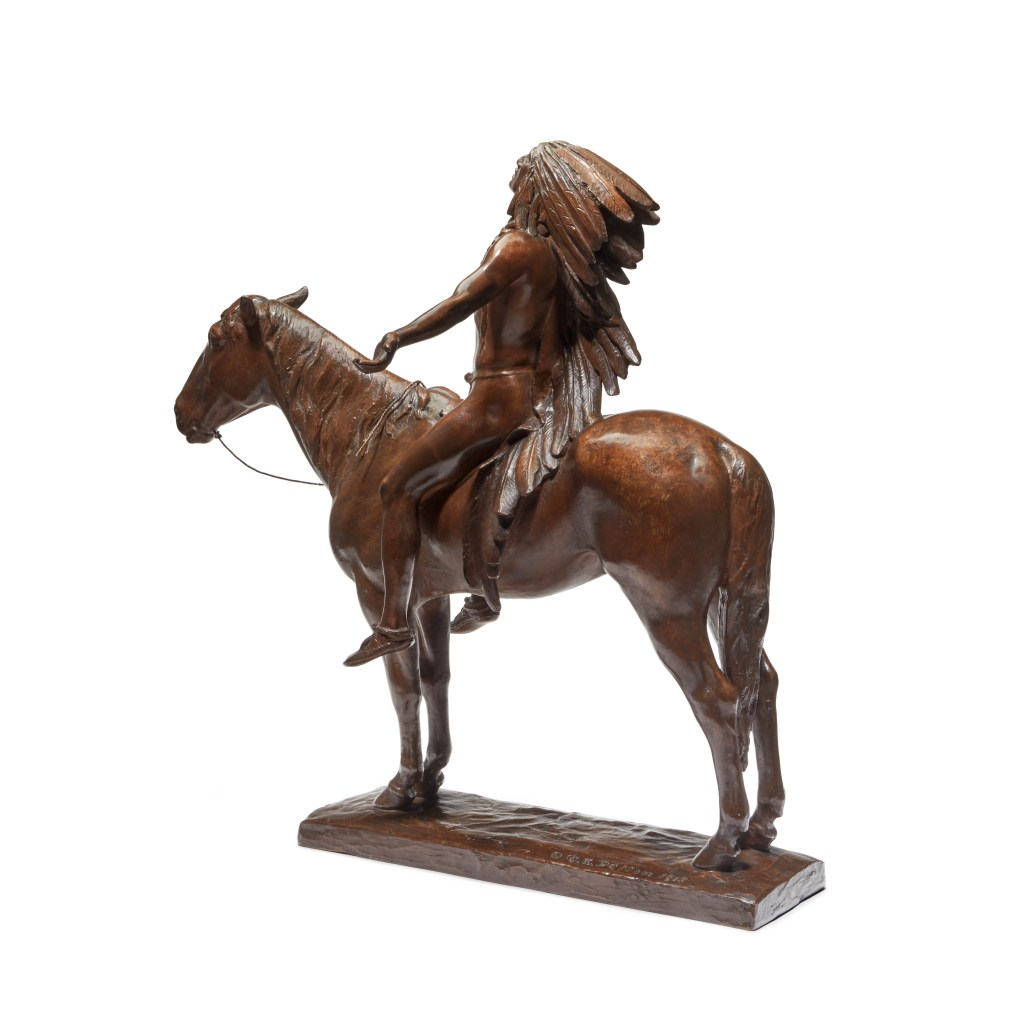 Rear view of the reduced-size Cyrus Edwin Dallin bronze, Appeal to the Great Spirit.