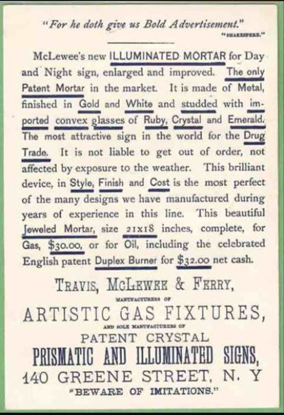 "The reverse of the late 19th century business card touted the merits of the ""jeweled mortar"", available with gas or oil fittings. The admonition to ""beware of imitations"" implies that other gas fixture companies might have offered their own spin on the design."