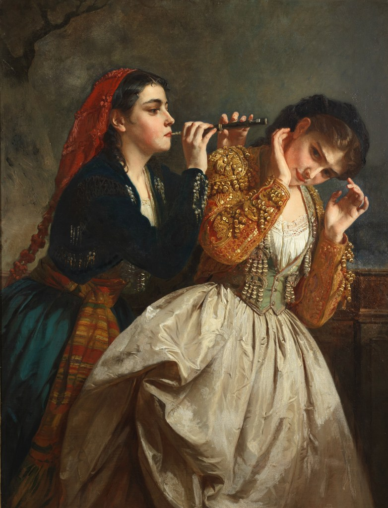Sound, one of a themed set of five paintings by Henri Guillaume Schlesinger. The Five Senses could fetch $140,000 and a new world auction record for the artist.
