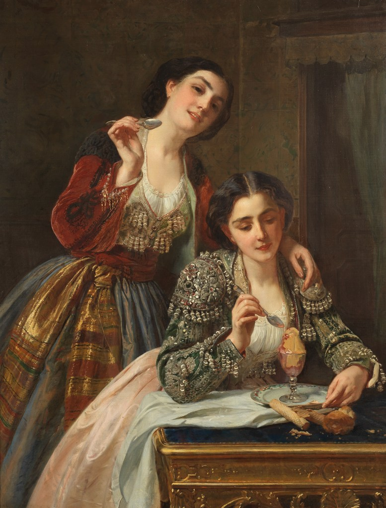 Taste, one of a themed set of five paintings by Henri Guillaume Schlesinger. The Five Senses could fetch $140,000 and a new world auction record for the artist.