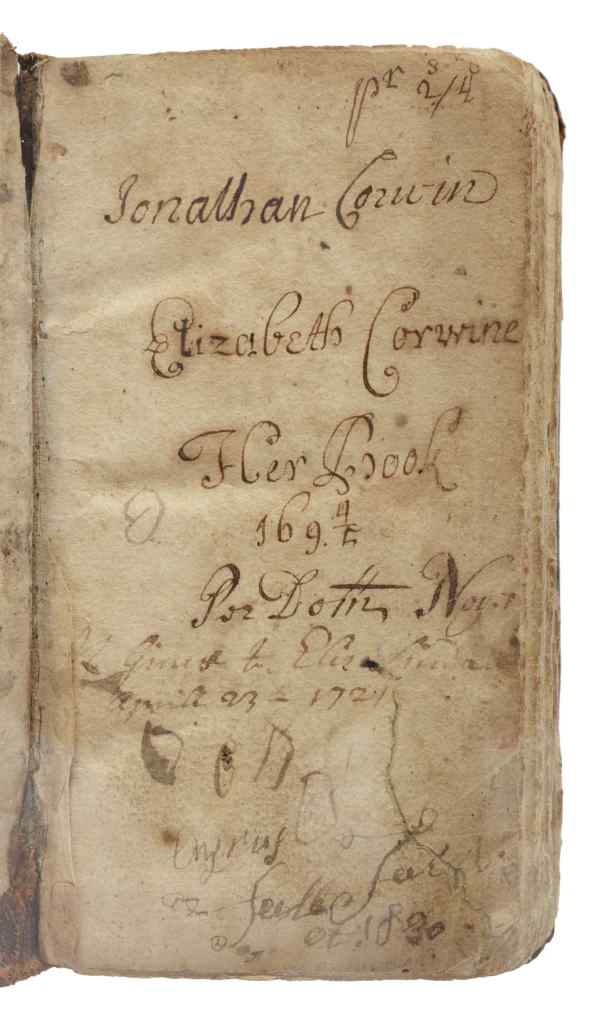 The seventh edition copy of the Bay Psalm Book is signed by past owners including Jonathan Corwin, who presided over the Salem witch trials as a judge. His wife, Elizabeth, signed the book also, providing early proof of book ownership by women in British North America.
