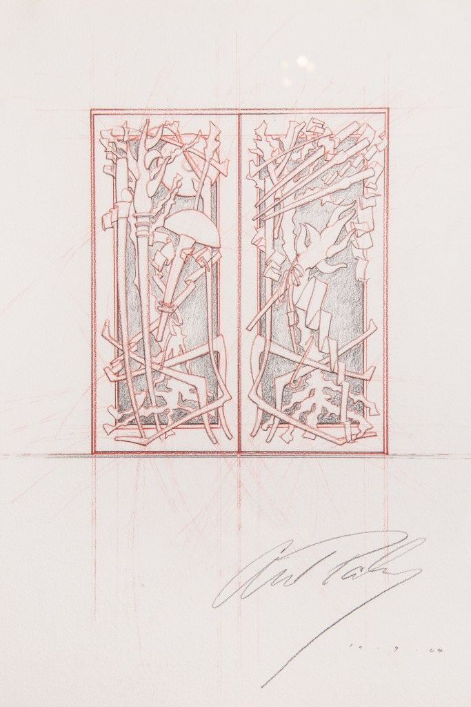 The Albert Paley doors come with the original design sketch, which Paley signed.
